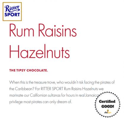 Ritter Sport Rum & Raisin Hazelnuts Chocolate 100g